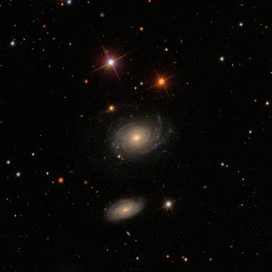 The optical galaxy pair NGC 1 and NGC 2 in Pegasus: NGC 1 is the northern object - Image Courtesy of Sloan Digital Sky Survey (SDSS)