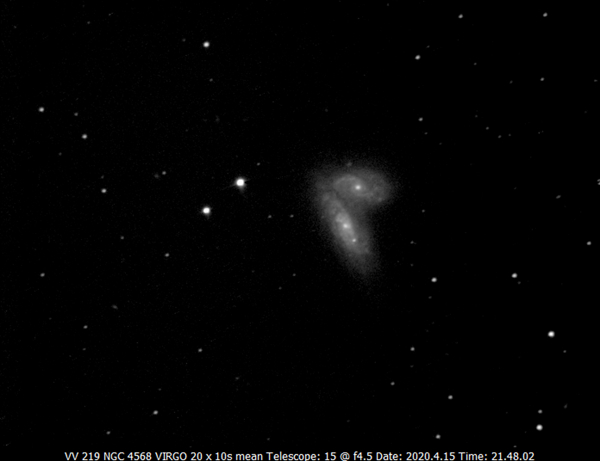 An EAA screen capture of NGC 4567 and NGC 4568 in Virgo