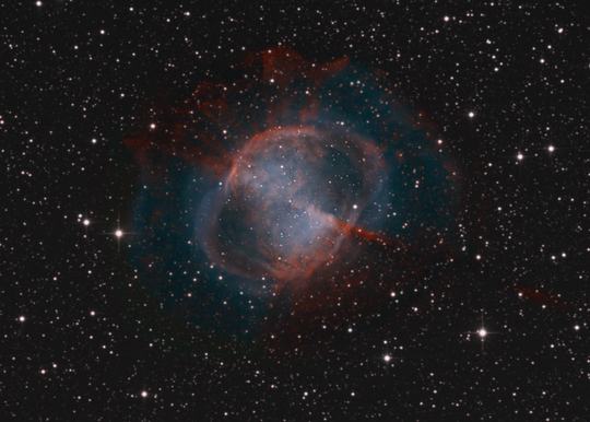 An LRGB image of M27 - Image Courtesy of David Davies
