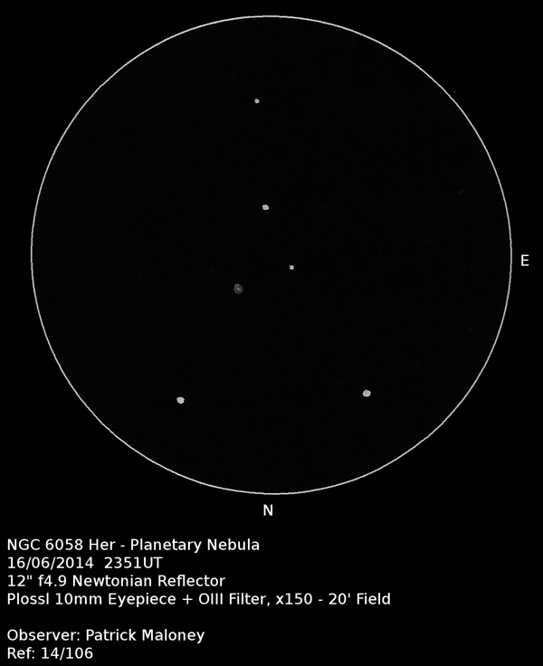A sketch of NGC 6058 by Patrick Maloney through his 12-inch newtonian telescope at x150 magnification.
